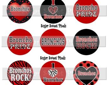 INSTANT DOWNLOAD Bronchos Red Black 1 inch circle School Mascot Bottle cap Images