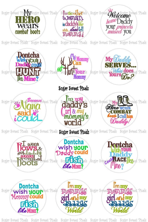 INSTANT DOWNLOAD Military, Hunting, & other sayings 1 inch Circle Bottlecap  Images 4x6 sheet