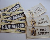 6 cigar box labels Blue Ribbon Lord Roberts advertising lot embossed gold accents NOS mixed media art scrap paper ephemera supplies