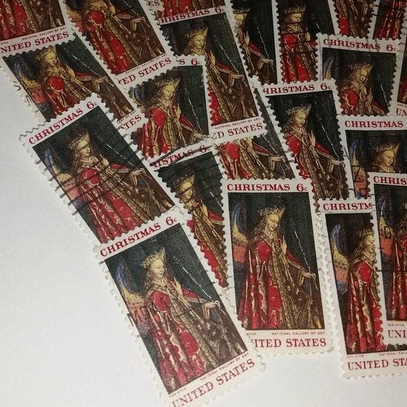 50 Christmas Angel Postage Stamps Red Gold Vintage Paper Art