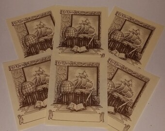 6 vintage unused book plates antique library globe ship Antioch Bookplate Co paper supplies & 3 book plate labels Easton Press Ex Libris pink on sepia paper ...
