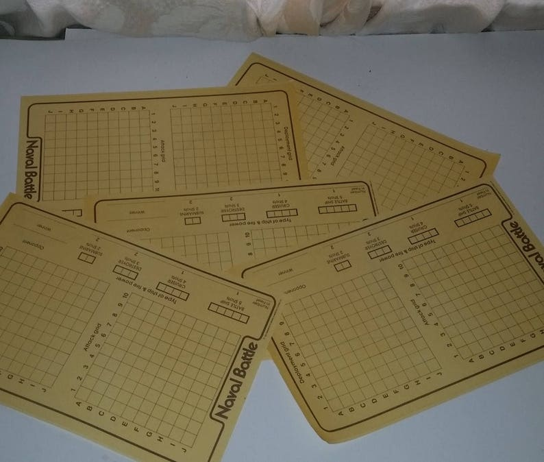 5 paper game boards Naval Battle golden yellow color Vintage ephemera  supplies classic mixed media altered art collage scrap projects