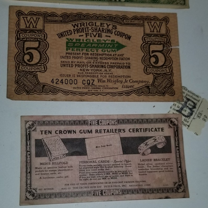"""WRIGLEY/'S CHEWING GUM /""""5/"""" COUPON CERTIFICATE PROFIT SHARING PROGRAM"""