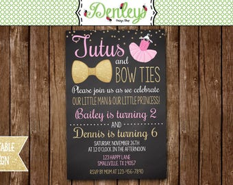 Bow tie invitations etsy tutus and bow ties invitation tutu and bow tie party theme boy and girl joint party tb03 filmwisefo
