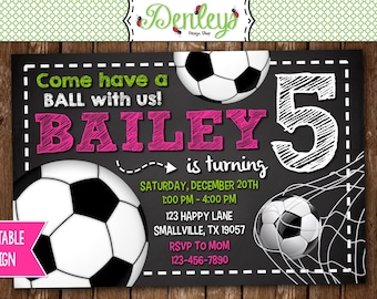 Soccer Birthday Invitation, Pink Soccer Theme, Soccer Favors, Girl Sports Soccer Invitation  (SO03)