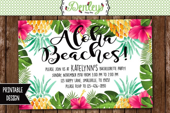 aloha beaches bachelorette party invitation aloha invitation etsy