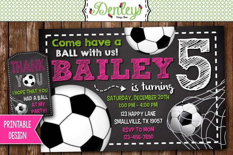 Soccer Birthday Invitation Pink Soccer Theme Soccer Favors Etsy