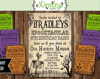 Haunted invitations, Skeleton Invitation, Spooky, Halloween Birthday Invitation, Teenager Halloween Invitation (HA02)