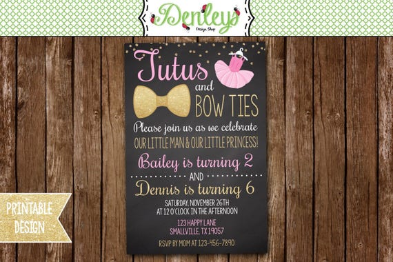 tutus and bow ties invitation tutu and bow tie party theme etsy