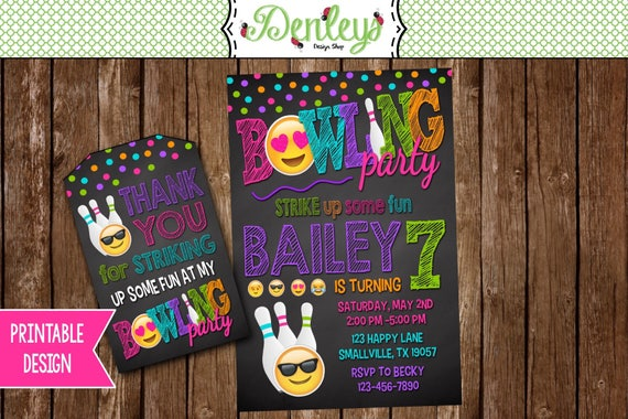 Emoji Bowling Party Invitation