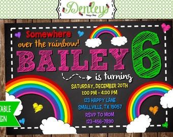 Rainbow Birthday Invitation, Rainbow Party (RA01)