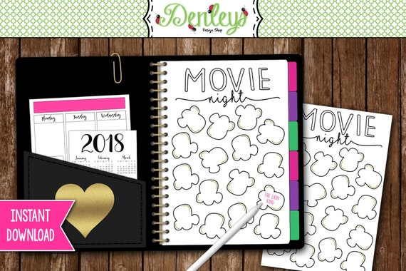 Instant Download Bullet Journal Movie List Popcorn Movie Etsy