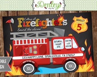 Fireman invitation Etsy
