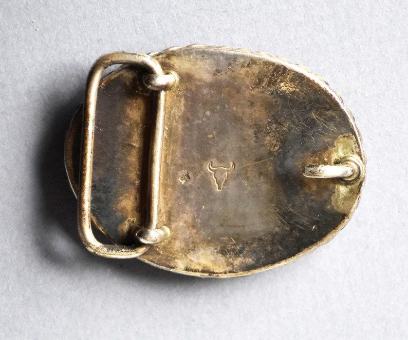 vintage signed sterling silver red agate belt buckle