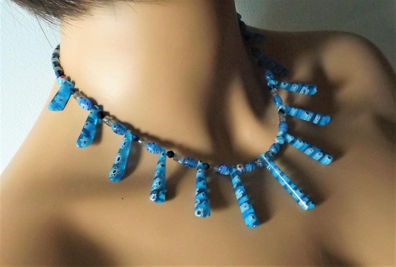 Statement Necklace London Blue Boho Jewelry