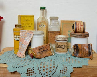 Vintage Assorted Advertising Medicine Toiletry Bottles Jars Glass Tubes Lot of 15 items