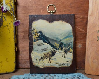 Vintage Wooden Plaque Elk Buck Winter Wilderness Snow Cabin Woods Fall Aspens Colorado Mountains Hunting Wood Decor Wall Hanging