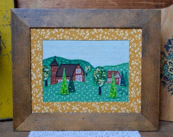 Vintage Handmade Embroidered Farm Pasture Barn Wood Wooden Framed with Wire for Hanging 1981 Farmhouse Country Decor