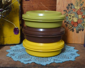 Vintage Retro Green Yellow Brown Stacking Tupperware Food Storage Containers Colorful - Set of 3