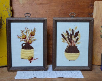 Set of 2 Matching Vintage Wooden Flower Vase Brown Wooden Wood Framed Embroidery Jug Reeds Yellow with Hooks for Hanging