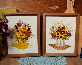 Vintage Set Crewel Embroidery Wood Wooden Framed Art Wall Hanging Handmade Textile - the Urban Barn