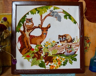 Vintage Crewel Embroidery Woodland Forest Animals Framed Wood Wooden Frame Nursery Art Wall Hanging Handmade Textile - the Urban Barn