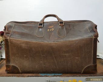 Vintage Large Leather Doctor's Bag Luggage Case Duffle Bag Travel Case Made in California USA 1940s 40s