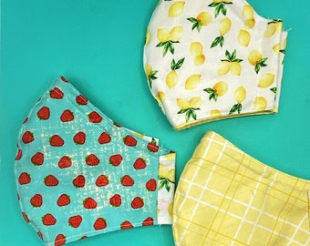 Lemons & Strawberries Breathable Fitted Face Masks W/ Nose Wire High Quality Reversible Soft 3 Layers Cotton Washable white lining retro
