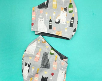 Wine & Cats Breathable Fitted Face Masks With Nose Wire. High Quality Reversible. 3 Layers Cotton Waving Cat Kitten Kitty Rosé Chardonnay