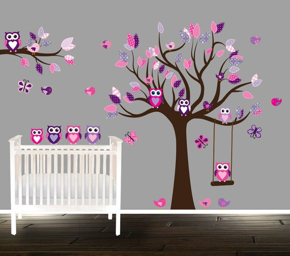 floral pink and purple owl wall decal nursery tree decals for | etsy