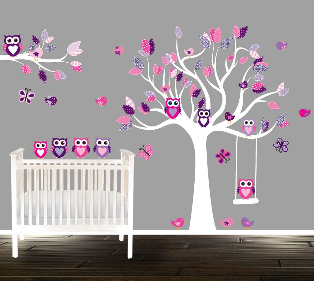 wandtattoo f r kinderzimmer rosa eule abziehbilder etsy. Black Bedroom Furniture Sets. Home Design Ideas