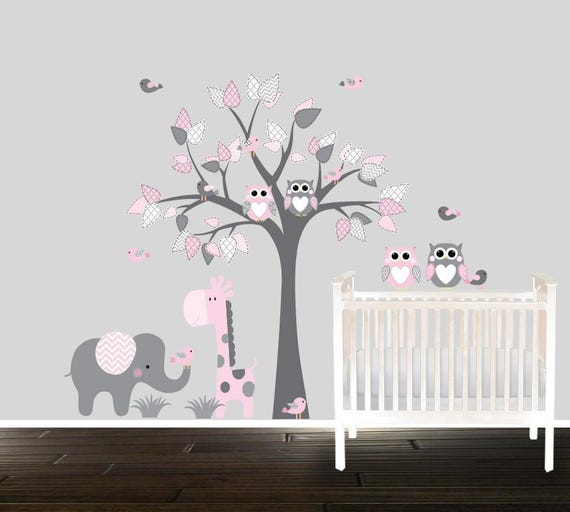 Girls Owl Wall Decals Nursery Decal Girls Nursery Tree Etsy