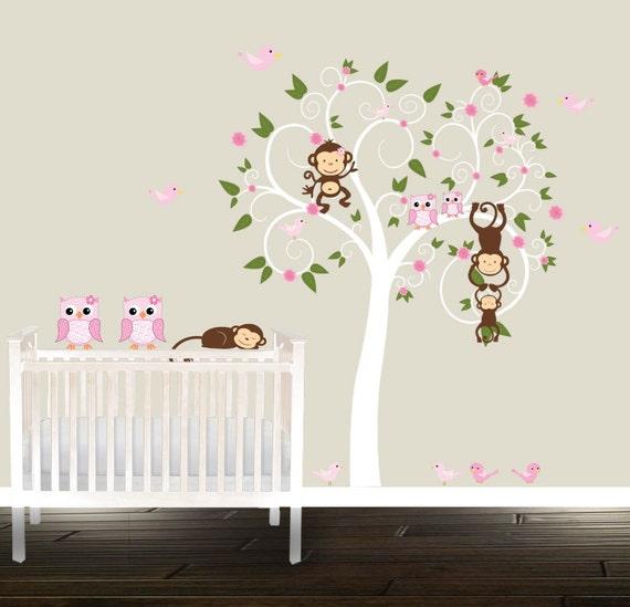 Kinderzimmer ideen für mädchen eule  Süße Mädchen Kinderzimmer Baum rosa Eule Abziehbilder Affen   Etsy