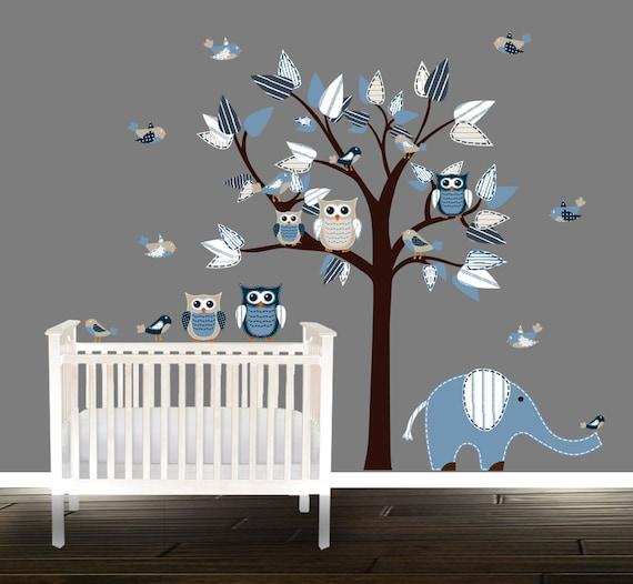 Baum Wandtattoo Kinderzimmer | Jungen Eule Wandtattoo Kinderzimmer Baum Vinyl Aufkleber Etsy