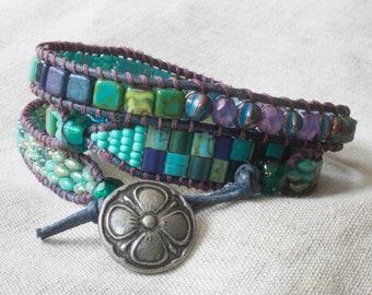 Sea Colors Three Wrap Beaded Leather Bracelet Sundance Style