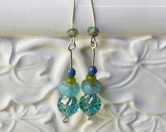 Aqua Blue Sterling Silver Earrings