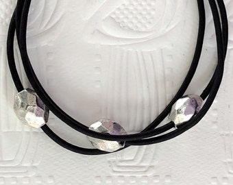 Personalise Silver and Black Leather Six Choice Bracelet with Magnetic Clasp Boho Sundance Style