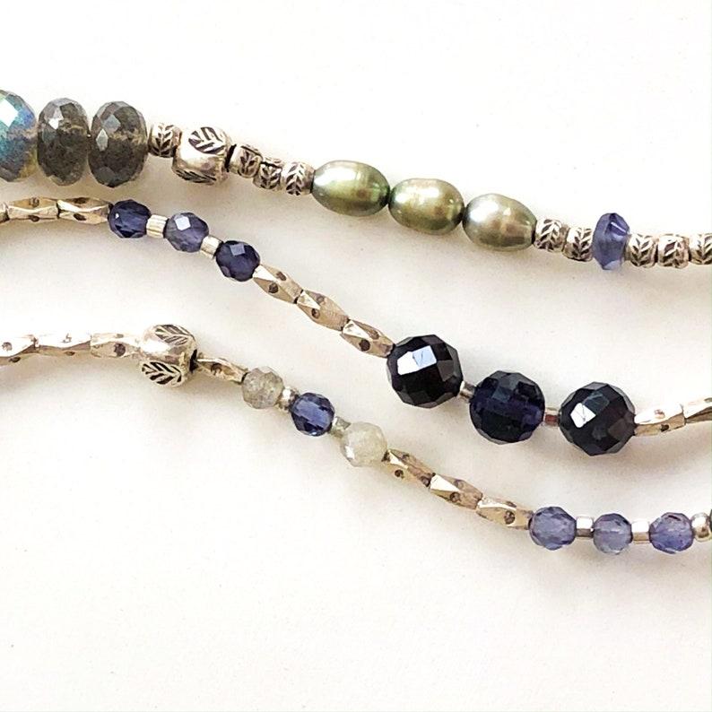 Labradorite Pearl Iolite and Thai Silver Multi Gemstone Three Strand Bracelet with Bronze Leaf Clasp Boho Sundance Style