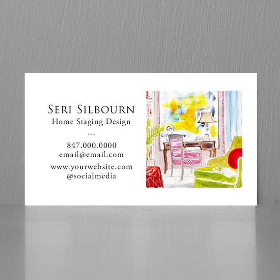 Interior Designer Business Cardhome Staging Business Card Etsy