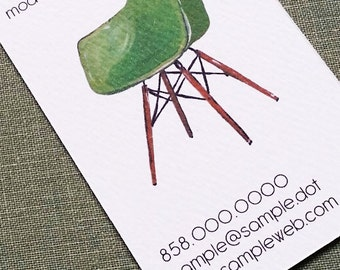 CUSTOM BUSINESS CARDS with Mid Century Eames Era Chair - Set of 50