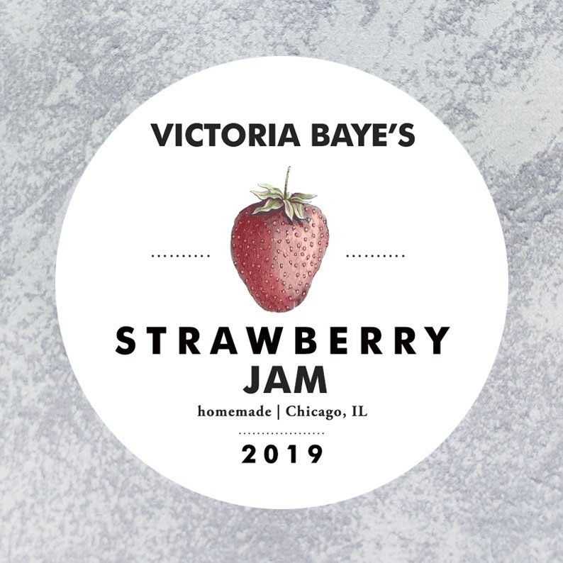 Personalized Strawberry Circle Label Regular or Wide Mouth image 0
