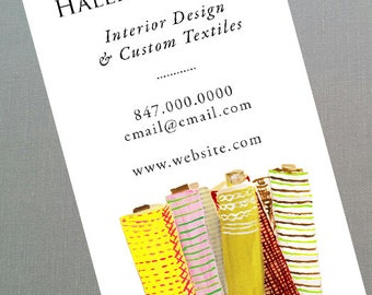 Business Card for Interior Designer with Fabric Rolls, Textile, Upholstery, Set of 50