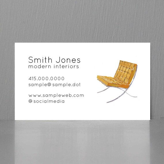 Architect Business Card Mid Century Business Card Interior Etsy