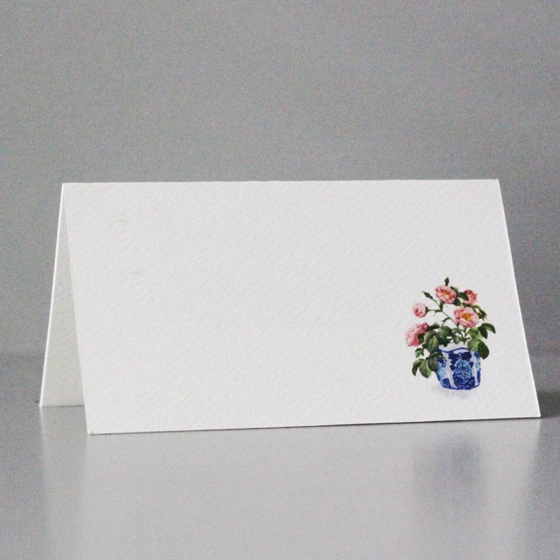 Blue and White Pink flower Place Cards Pink Floral Place image 0