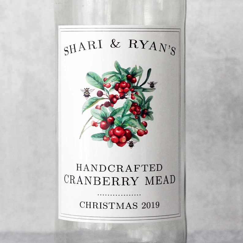 Homemade cranberry Mead Labels All Text Personalized Holiday image 0