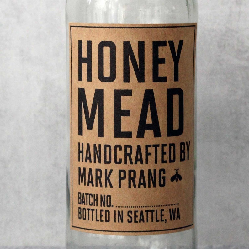 Homemade Mead Labels All Text Personalized Kraft Brown Mead image 0