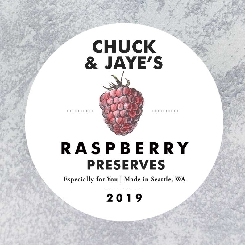 Personalized Raspberry Circle Label Regular or Wide Mouth image 0