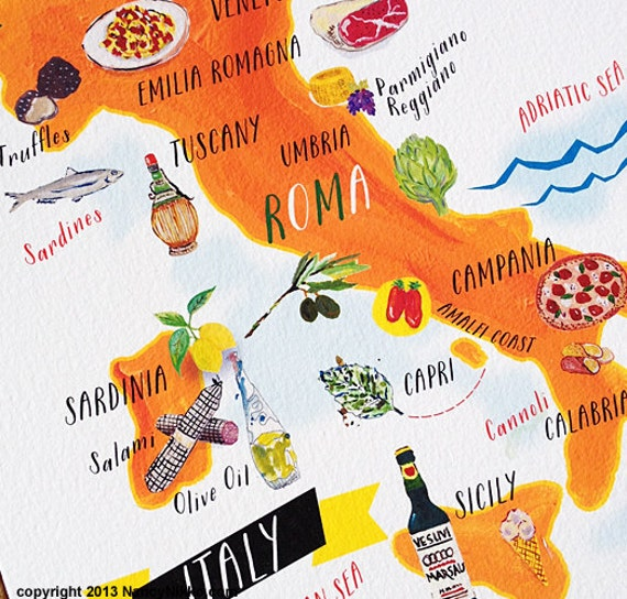 22 Foods You Can Regrow Again And Again From Kitchen: Italian Food Map Print Kitchen Art 5x7