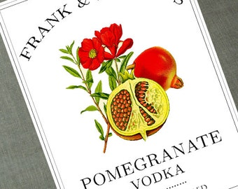 Personalized Pomegranate Labels or Tags, Pomegranate Vodka Label,set of 18