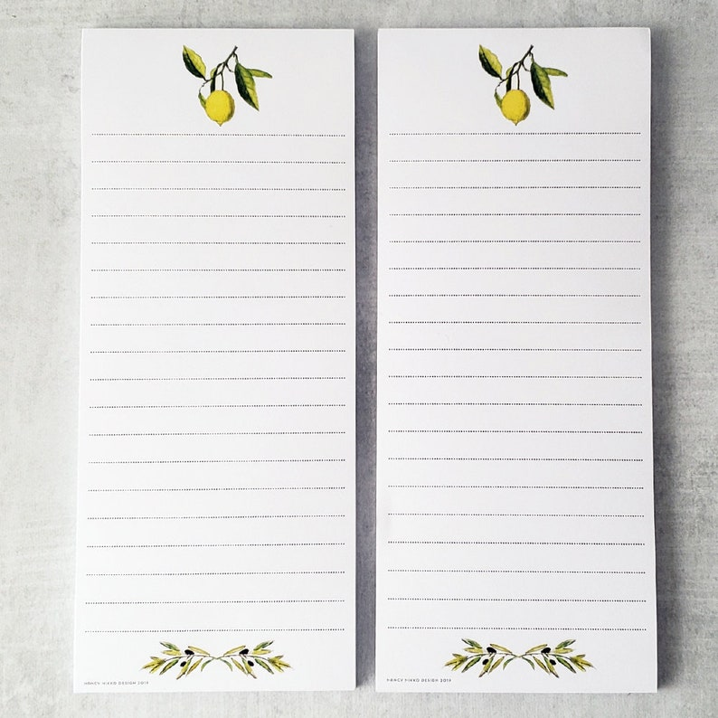 Lemon and Olive branch Shopping List Notepad Refrigerator image 0